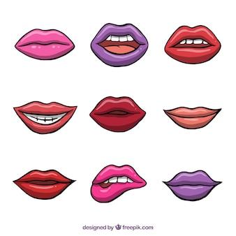 Coleção de lábios coloridos 2d