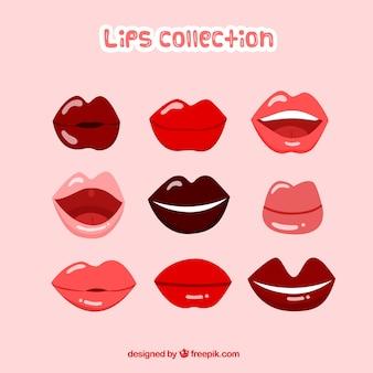 Coleção de lábios coloridos com design liso