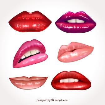 Coleção de lábios coloridos com design realista
