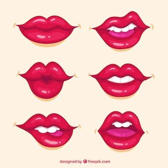 Coleção de lábios com cor vermelha