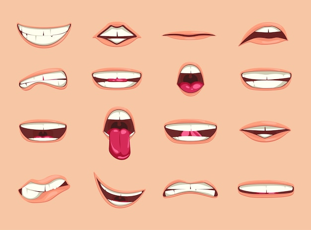Coleção de lábios de desenho animado.