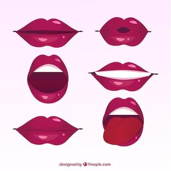Coleção de lábios femininos com estilo 2d