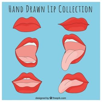 Coleção de lábios vermelhos desenhados à mão