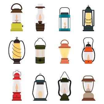 Coleção de lâmpadas de óleo de lanterna de acampamento