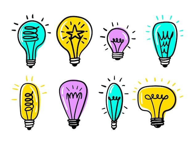 Coleção de lâmpadas desenhadas à mão criativa