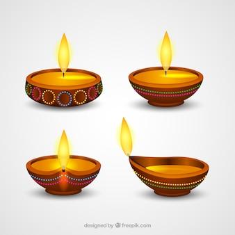 Coleção de lâmpadas diwali