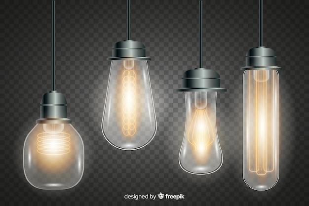 Coleção de lâmpadas realistas