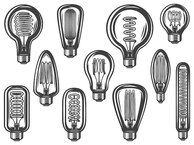 Coleção de lâmpadas vintage com lâmpadas economizadoras e econômicas de diferentes formas isoladas