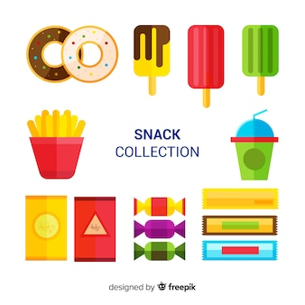 Coleção de lanche colorido com design plano