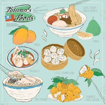Coleção de lanches deliciosos de taiwan em estilo simples
