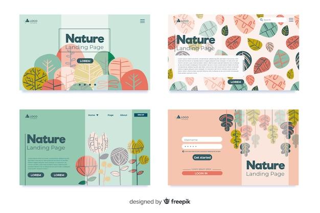 Coleção de landing page de natureza
