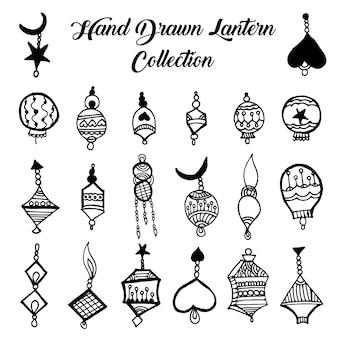 Coleção de lanterna preto e branco desenhada a mão