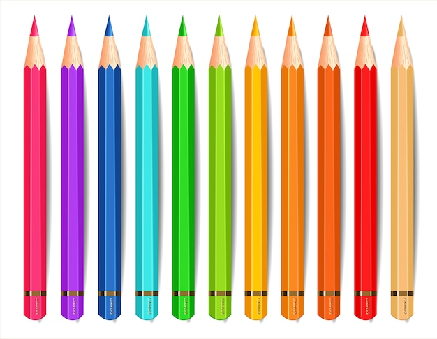 Coleção de lápis coloridos