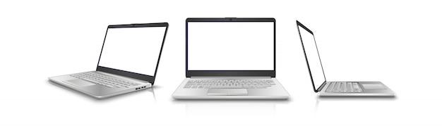 Coleção de laptop na vista lateral, frontal e 3/4. isolado no fundo branco perfeito para o seu anúncio.