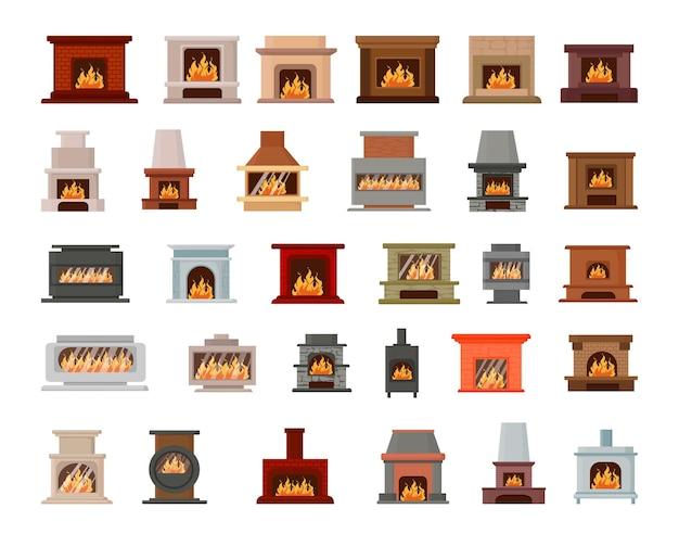 Coleção de lareiras com fogo.