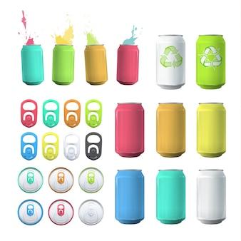 Coleção de lata multicolorida
