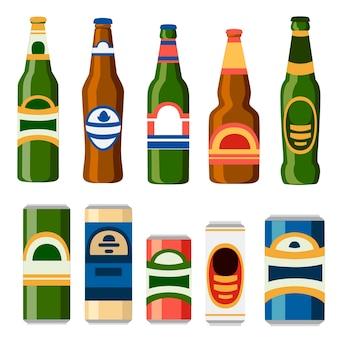 Coleção de latas e garrafas de cerveja