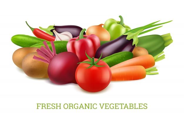 Coleção de legumes 3d. imagens realistas de nutrição saudável vegetariana orgânica