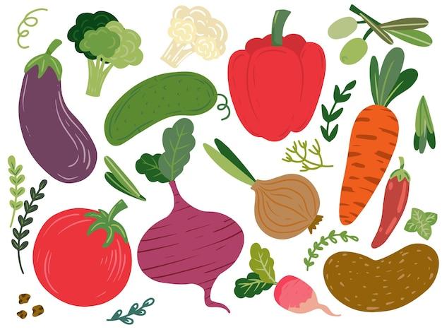 Coleção de legumes desenhados à mão.