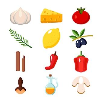 Coleção de legumes e elementos de cozinha