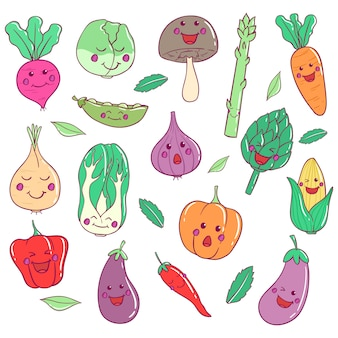 Coleção de legumes kawaii com arte doodle