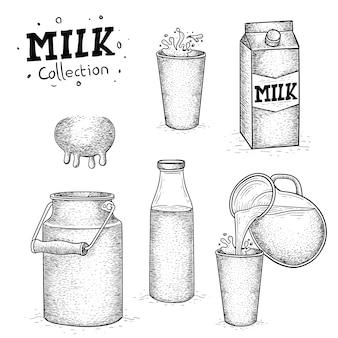 Coleção de leite desenhada à mão