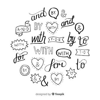 Coleção de lemas de casamento de mão desenhada