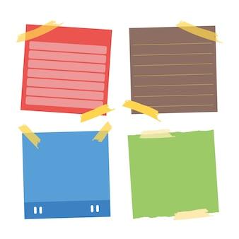 Coleção de lembretes. poste-o para notas de trabalho, lembrete para fazê-lo. coleção de adesivos de papel de escritório.