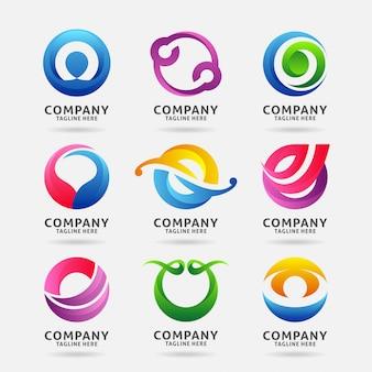 Coleção de letra o design moderno logotipo