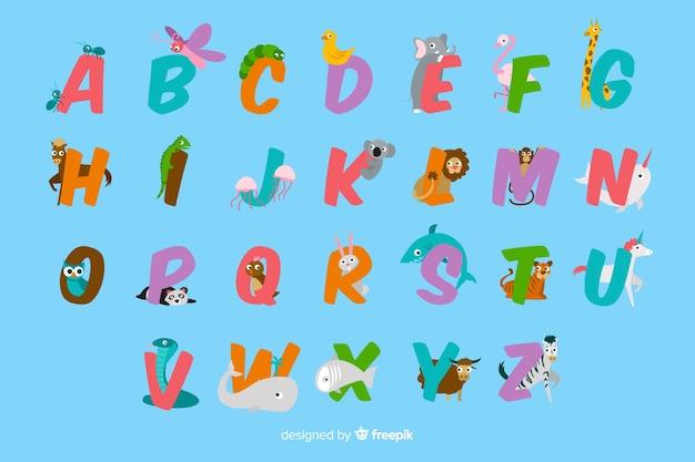Coleção de letras animais fofos design plano