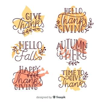 Coleção de letras de ação de graças feliz