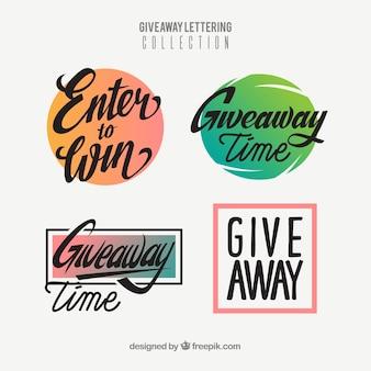 Coleção de letras de brinde criativo para concursos