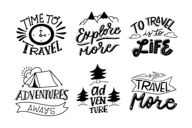 Coleção de letras de campismo e aventuras