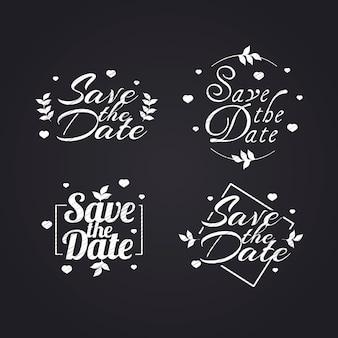 Coleção de letras de casamento branco