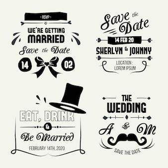 Coleção de letras de casamento do vintage