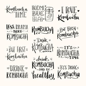 Coleção de letras de chá de kombuchá