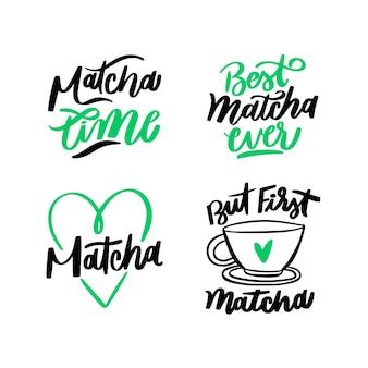 Coleção de letras de chá matcha