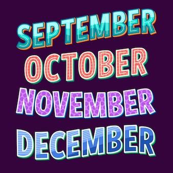 Coleção de letras de dias da semana, meses e estações