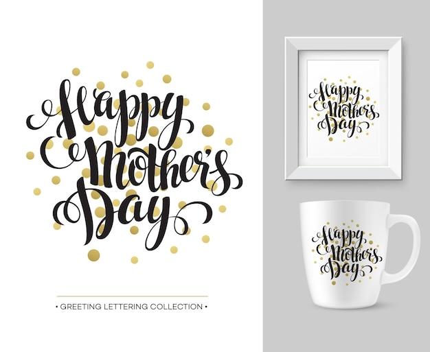 Coleção de letras de mão do dia das mães. modelo de design de mock-up. eps10