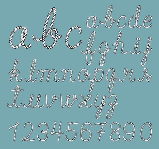 Coleção de letras do alfabeto de corda