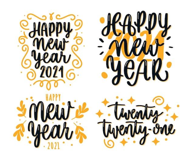 Coleção de letras do ano novo de 2021