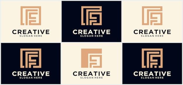 Coleção de letras f linhas abstratas design de modelo de logotipo minimalista letra abstrata f. símbolo gráfico do alfabeto para identidade corporativa.