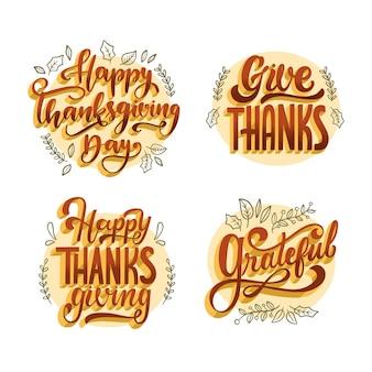 Coleção de letras feliz dia de graças