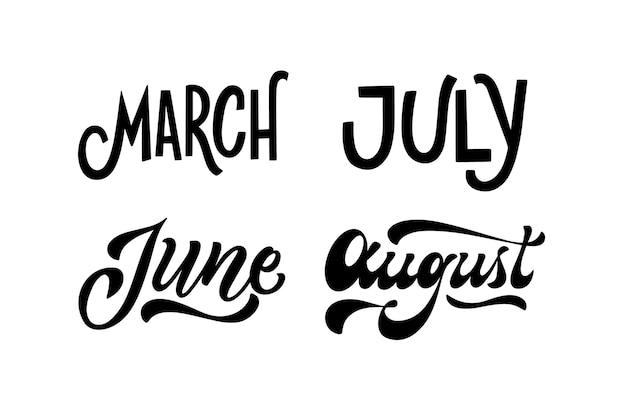 Coleção de letras monocromáticas de meses