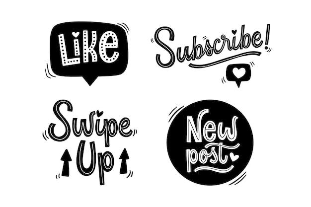 Coleção de letras nas redes sociais