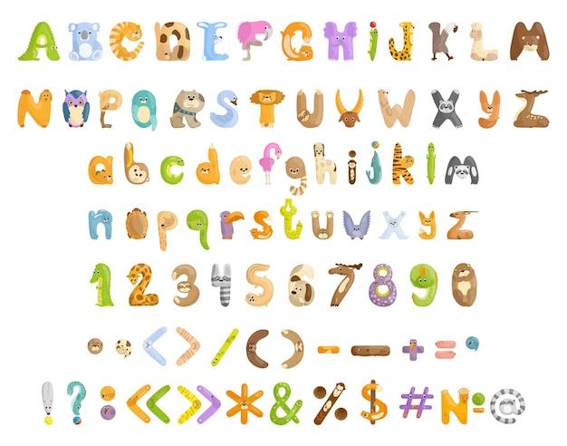 Coleção de letras, números e sinais de pontuação com animais
