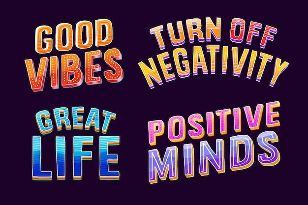 Coleção de letras positivas