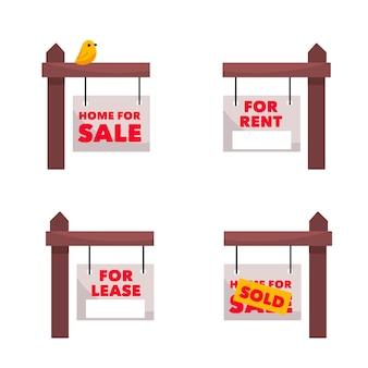 Coleção de letreiros imobiliários à venda