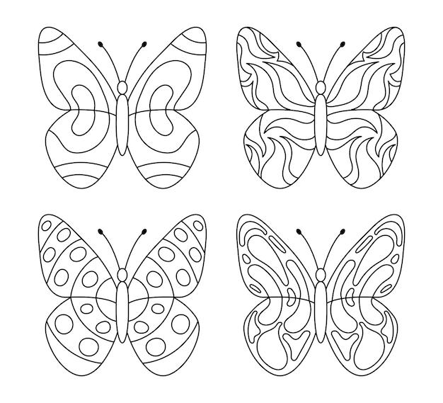 Coleção de lindas borboletas para livro de colorir