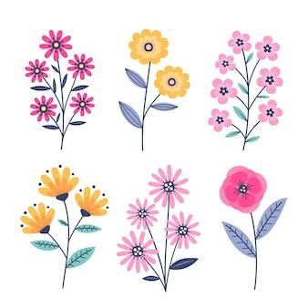 Coleção de lindas flores desenhada à mão